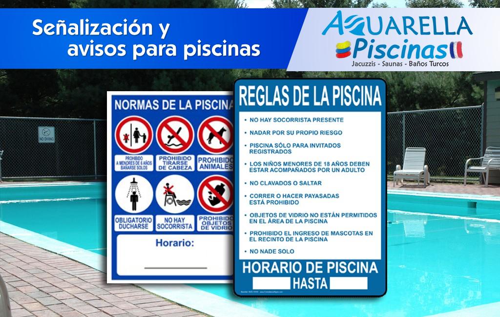 Señales y avisos para piscinas