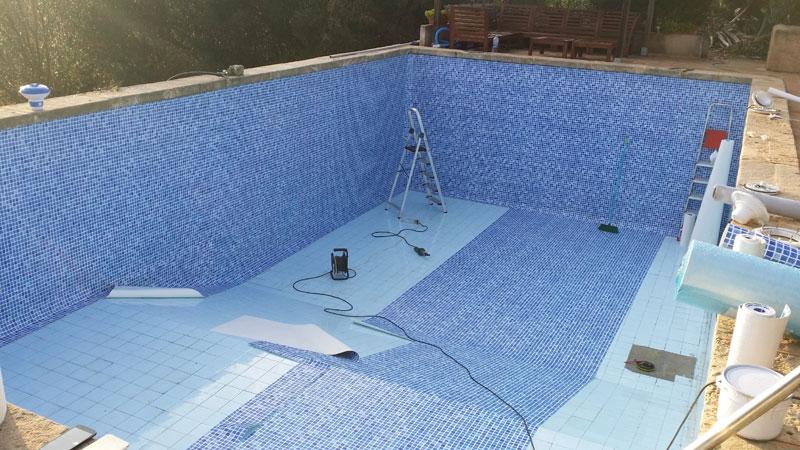 Reparacion de piscina con membrana pvc
